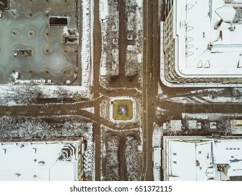 Drone aerial view of Freedom Avenue. Laisves aleja (Freedom avenue) - Kaunas most famous walking street is fully pedestrianized and runs from the old town for a distance of almost 2 km.