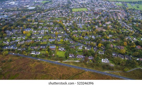 Drone aerial view of houses over Ilkley Moors in Yorkshire