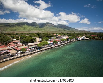 Drone Aerial View - Lahaina Town - Island of Maui - Hawaii