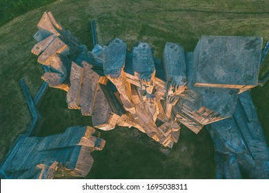 Drone aerial view of Memorial to the Victims of Nazism at Ninth Fort, Kaunas, Lithuania