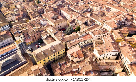 Drone aerial view of old town style building in Lucca ,Lucca is a city and comune in Tuscany, Central Italy