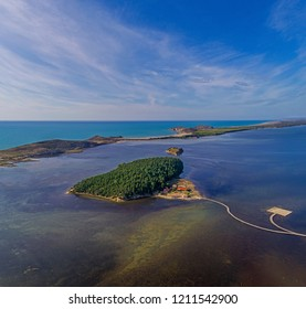 Drone aerial view on  isolated Monastery of Saint Mary on Zvernec island (Narta Lagoon, Vlore, Albania)