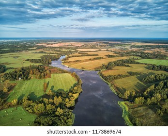 Drone aerial view on Yaroslavl and river Volga, Russia. May 2018.