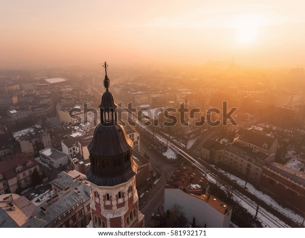 Drone aerial view over Church in Krakow, Poland
