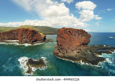 Drone Aerial View - Puupehe (Sweetheart Rock) - Shark's Bay - Island of Lana'i - Hawaii