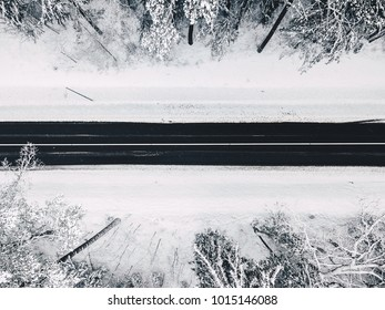 Drone aerial view of road in the snowy forest. Kaunas county, Lithuania