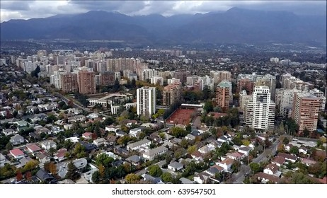 Drone aerial view of Santiago the capital of Chile