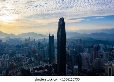 A drone aerial view of the shenzhen city
