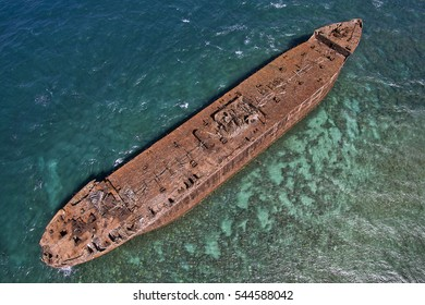 Drone Aerial View - Shipwreck Beach (Kaiolohia) - Island of Lanai - Hawaii