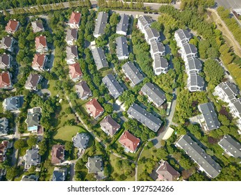 Drone aerial view of suburban residential house in the Jinqiao community of Pudong, Shanghai, China.