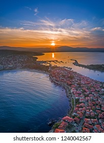 Drone aerial view of sunset on the Sozopol Old town