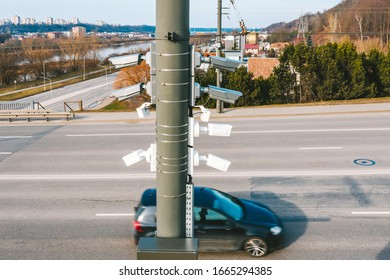 Drone aerial view of traffic security camera surveillance (CCTV) on the road
