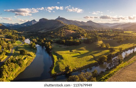Drone aerial view of Tweed River and Mount Warning, New South Wales, Australia
