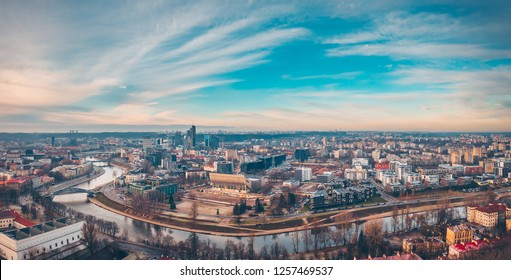 Drone aerial view of Vilnius center. Vilnius is the capital of Lithuania and its largest city,