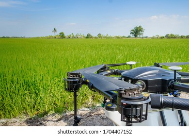 Drone for agriculture prepare to fly operation of spray pesticides or fertilizer. Agricultural technology to increase agricultural productivity reduce the difficulty in farming And reduce the risk.