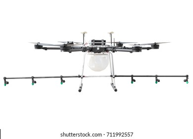 Drone for agriculture, smart farmer use drone for spray pesticide isolated on white background with clipping path