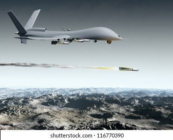 Drone aircraft launching an air to ground missile