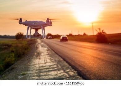 Drone beside a road