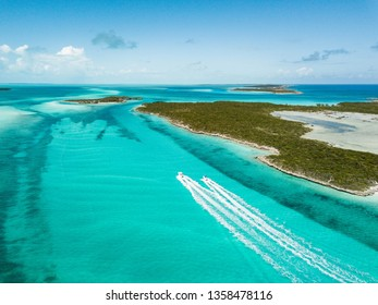 drone bird view of exuma in the bahamas. summer