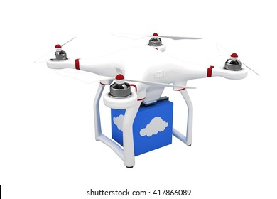 A drone bringing a blue cube on white background