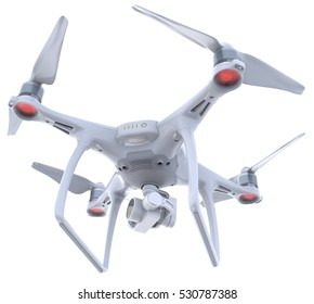 Drone with camera isolated on white. 3D Rendering