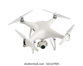 Drone with camera isolated on white background