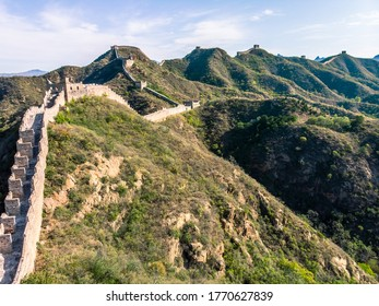 Drone capture of restored part of the Great Wall of China, Jinshanling.