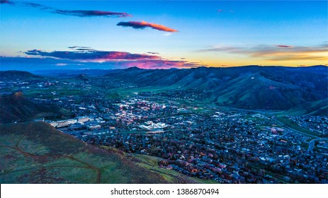 Drone Colorful Sunset on Denver, Colorado from Golden