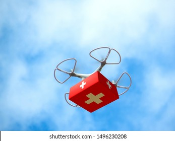 Drone Delivering First Aid Box. Advancing Medical Industry Logistics for Drug Transport. Aerial view. Copy space