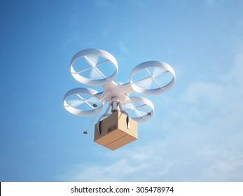 Drone delivering a package - autonomous logistics