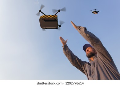 drone delivers containers to operator