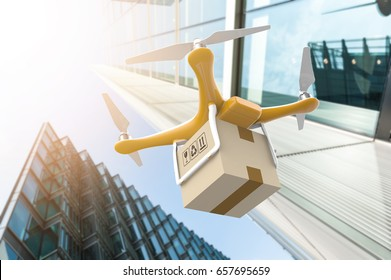 Drone with a delivery box package in a modern city: 3D rendering