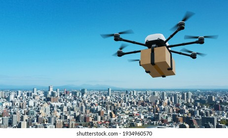 Drone delivery concept. Autonomous unmanned aerial vehicle used to transport packages. 3D rendering.