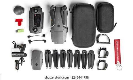 Drone DJI Mavic PRO and accessory kit on white background. 02.12.2018 Rostov on Don, Russia