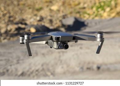 The drone flies  Dron take off