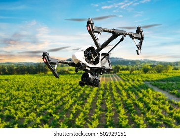 Drone flying above beautiful landscape with vineyards
