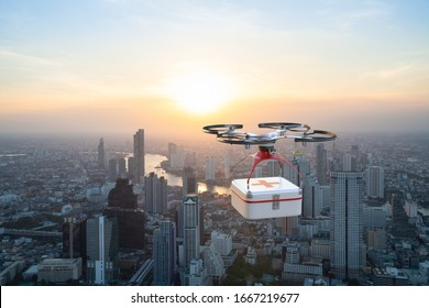 Drone flying across city with carrying first aid package to rescuers, Future technology 5G concept