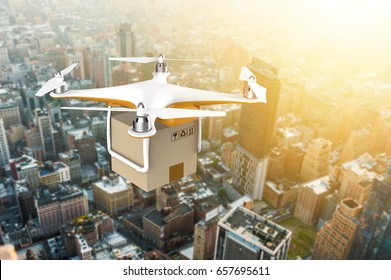 Drone flying with a delivery box package over a sunset city: 3D rendering