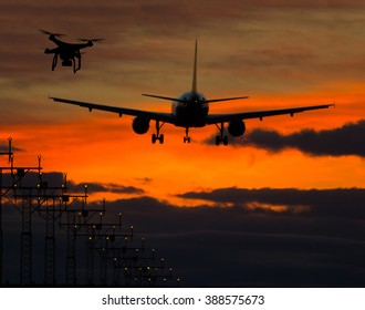 Drone flying near commercial airplane