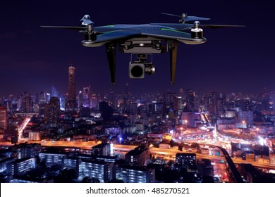Drone Flying over  city. Blurred background.