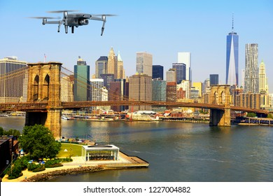 Drone flying over Manhattan, New York