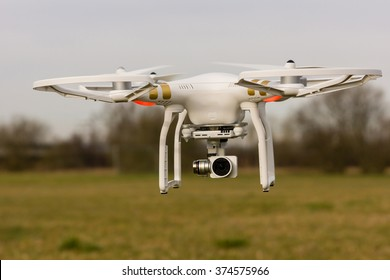 A drone flying over a meadow