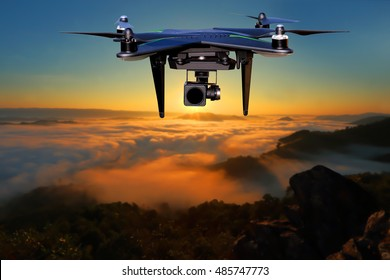 Drone Flying over view the fog and sun rises .Blurred background.