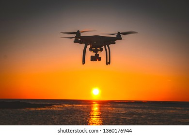 Drone flying at the sunset moment