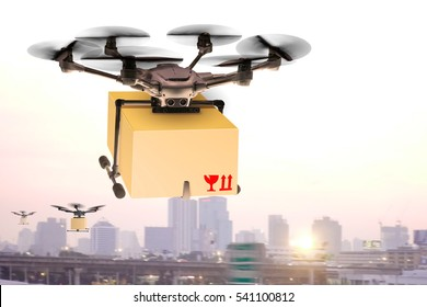 Drone flying through the air with a delivery box package clamped on to deliver to customer  Parcel with wings flies in sky among clouds.