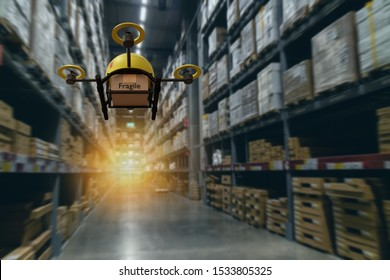 drone flying transportation in smart warehouse concept, a retail use a drone(artificial intelligence technology delivery to send a tool kit, product, fruit, vegetable, etc in the store,  to customer