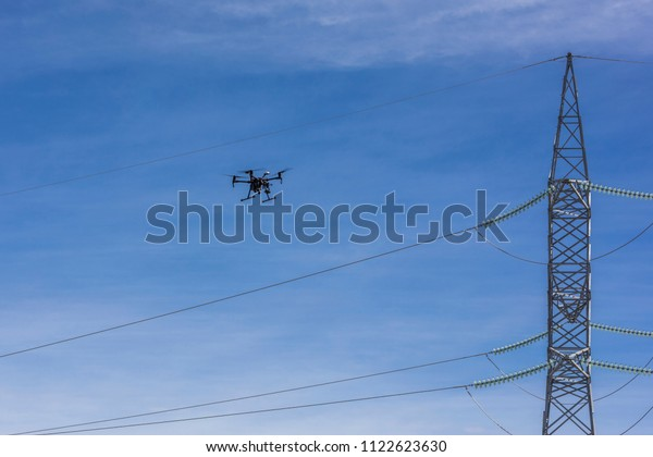 Drone Flying Working Ortophoto Thermal Analysis Stock Photo