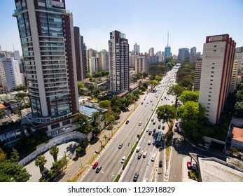 Drone footage of an avenue with a big city, 23 May Avenue, Sao Paulo, Brazil, South America