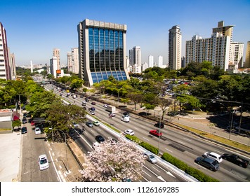 Drone footage of an avenue with a lot of traffic in a big city, 23 May Avenue, Sao Paulo, Brazil, South America