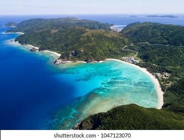 Drone footage of ocean view in Okinawa, Japan